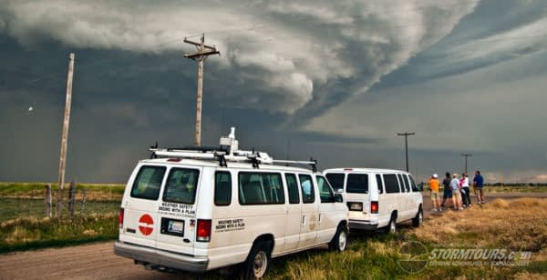 storm chase vans at storm